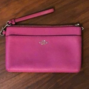 Like new fun pink wristlet Coach purse